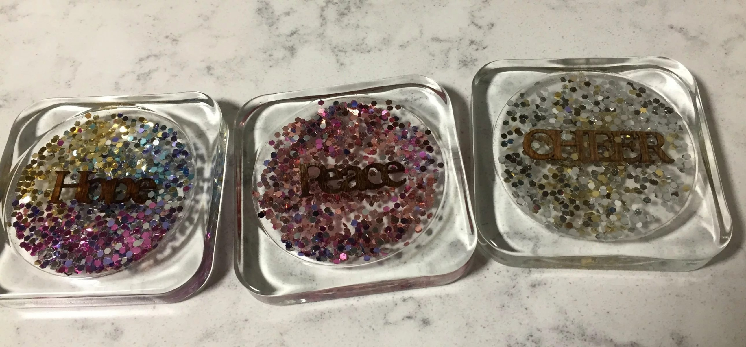 DIY sparkly resin coasters
