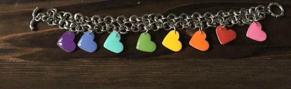 rainbow heart bracelet diy