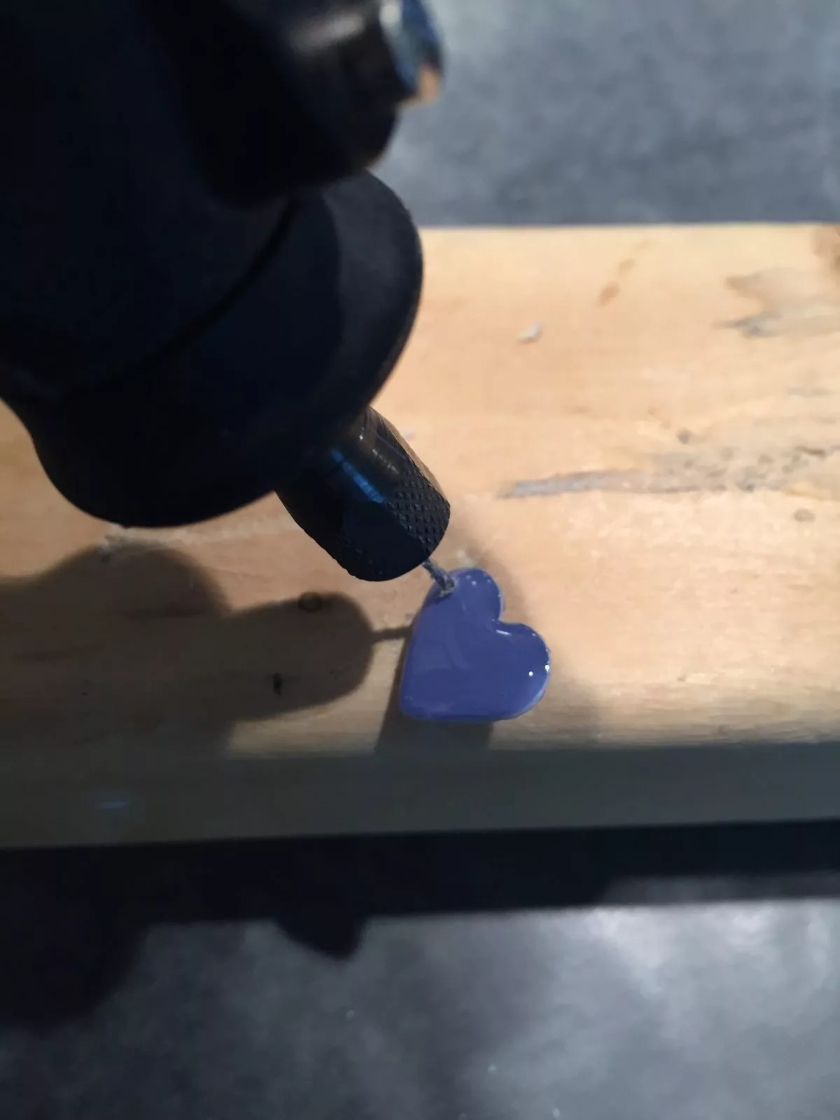 drilling resin hearts with a dremel tool