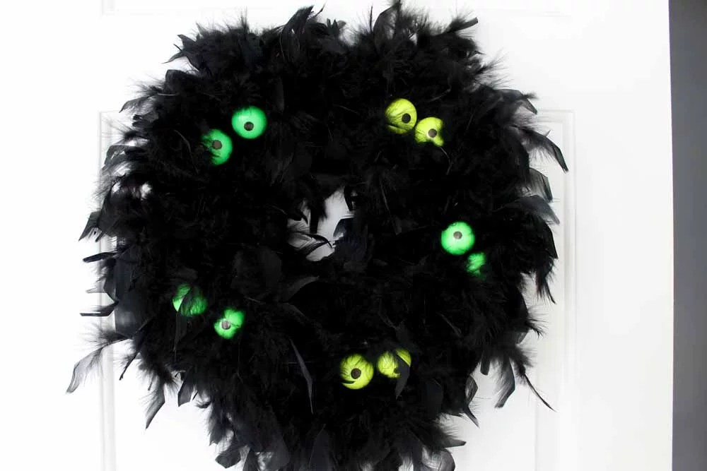 Halloween wreath with glow in the dark eyes