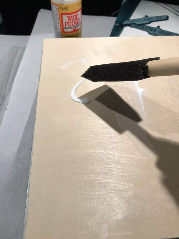 Glue on canvas