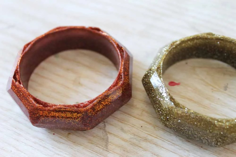 glitter resin napkin rings demolded