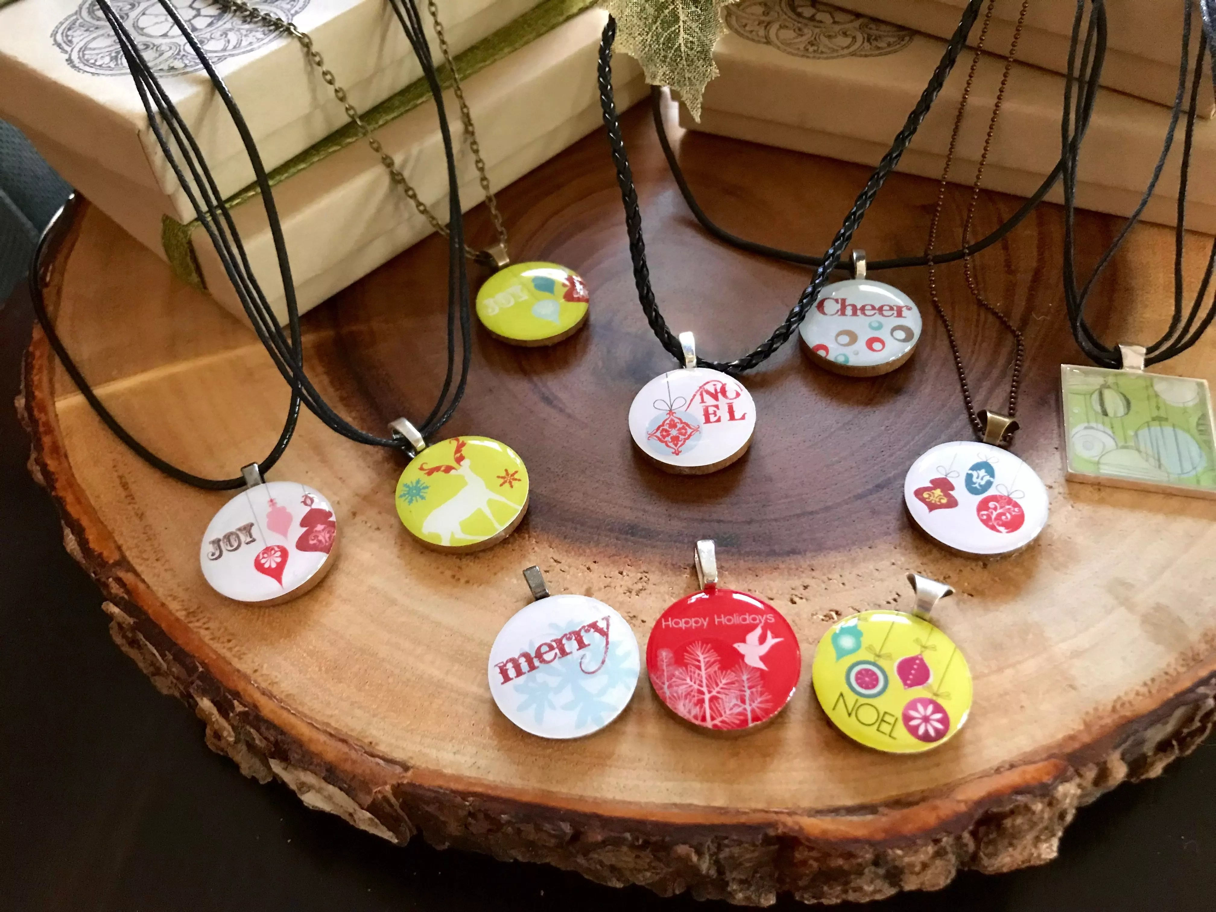 holiday resin necklaces
