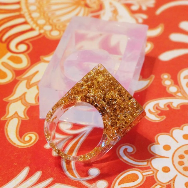 resin gold leaf ring silicone mold