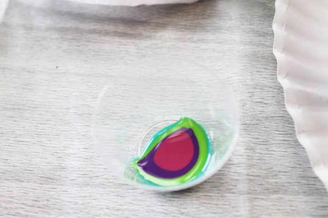 rainbow of resin in cup