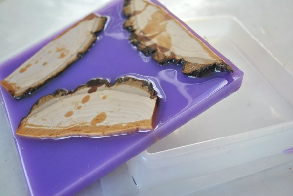 three wood cuts in lavender resin and square resin mold
