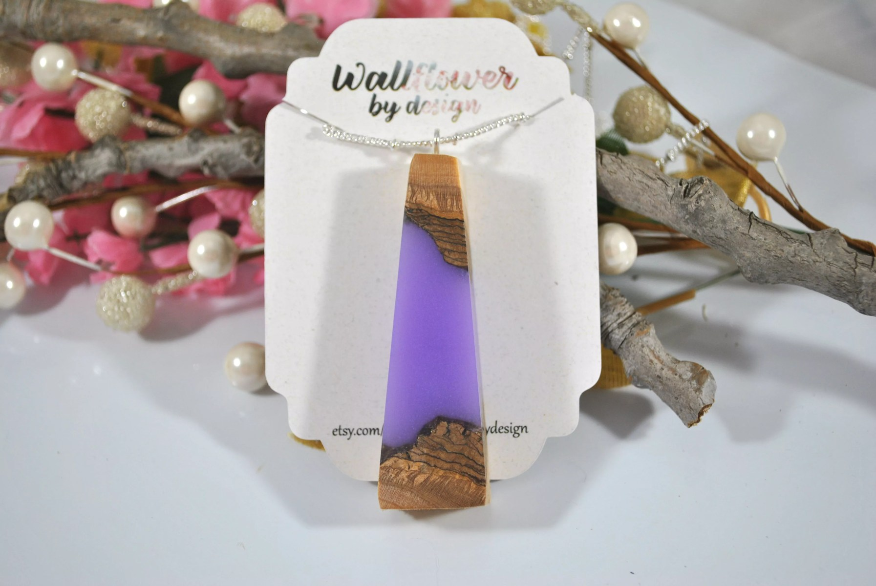 wood and lavender resin pendant on chain and in designer packaging