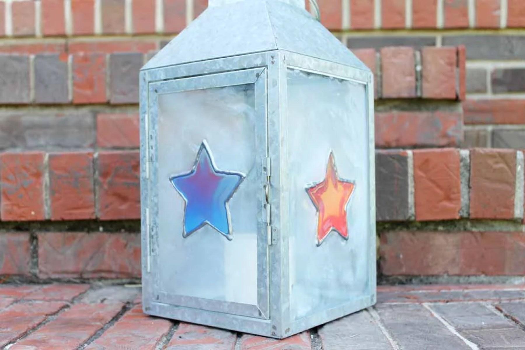 resin patriotic lantern diy