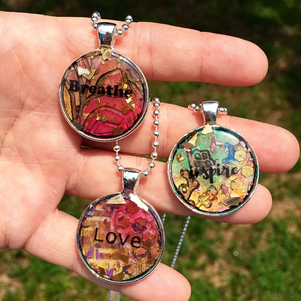 resin mixed media pendants