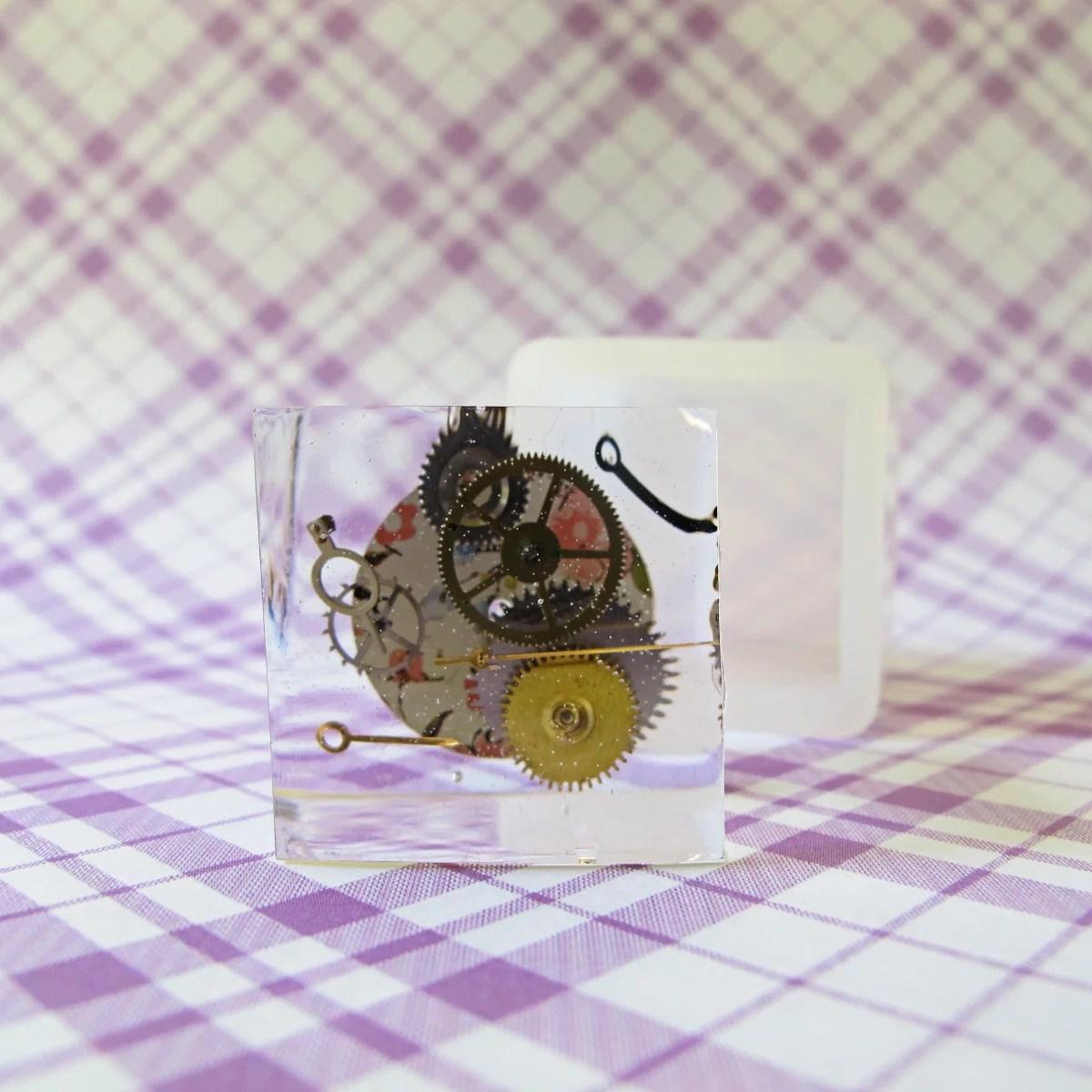 steampunk resin cube