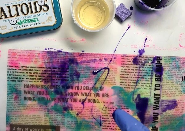 pouring another resin layer over resin paper