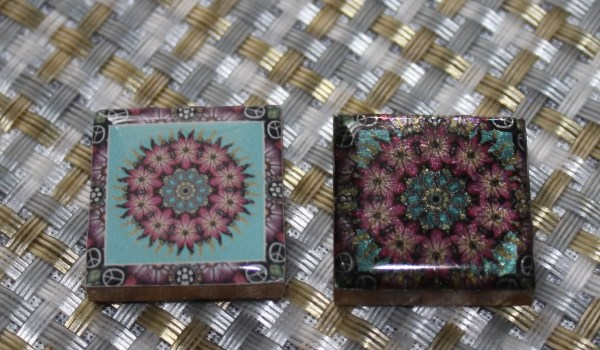 mandala transparency covered tile and finished resin mandala pendant