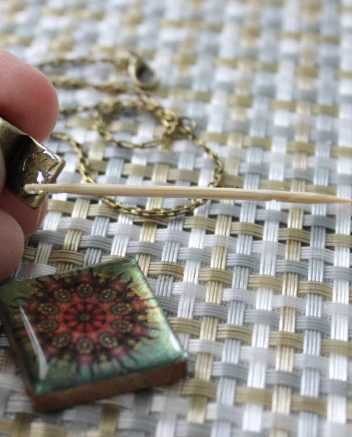 gluing bail to resin mandala pendant