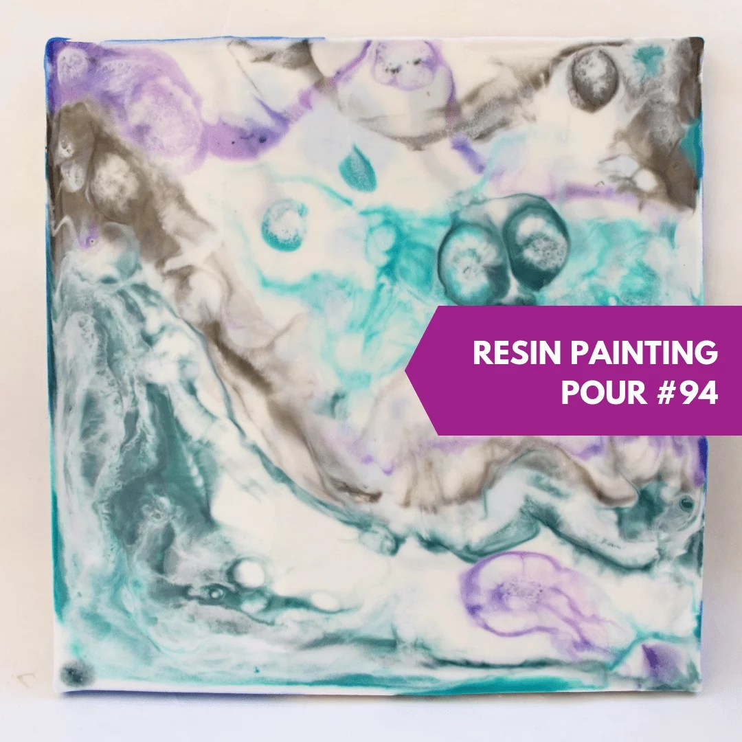 resin painting direct pour teal purple white