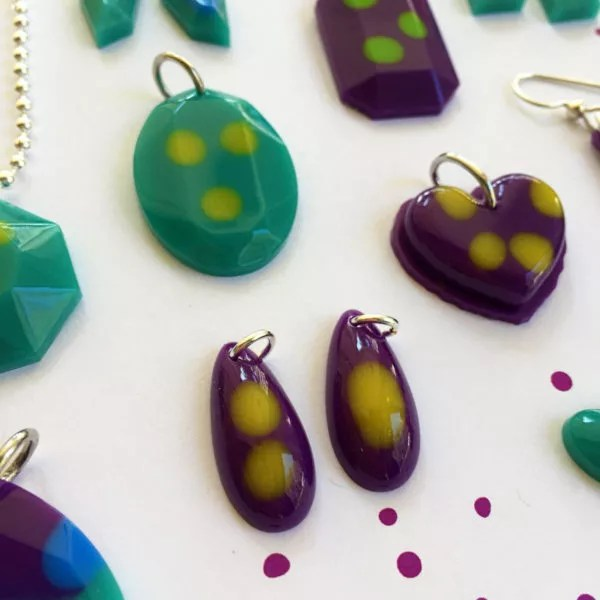 resin jewelry purple teal yellow