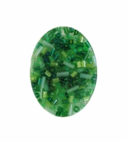 green glass beads oval resin pendant