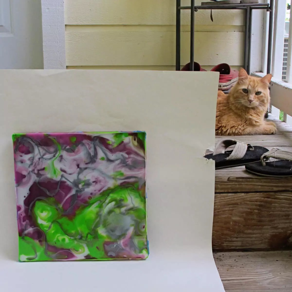 resin painting with orange cat