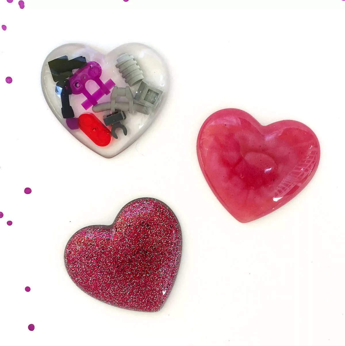 heart charms made with resin