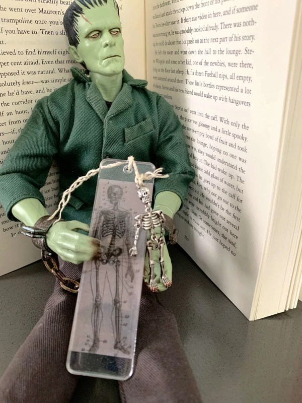 skeleton bookmark with Frankenstein