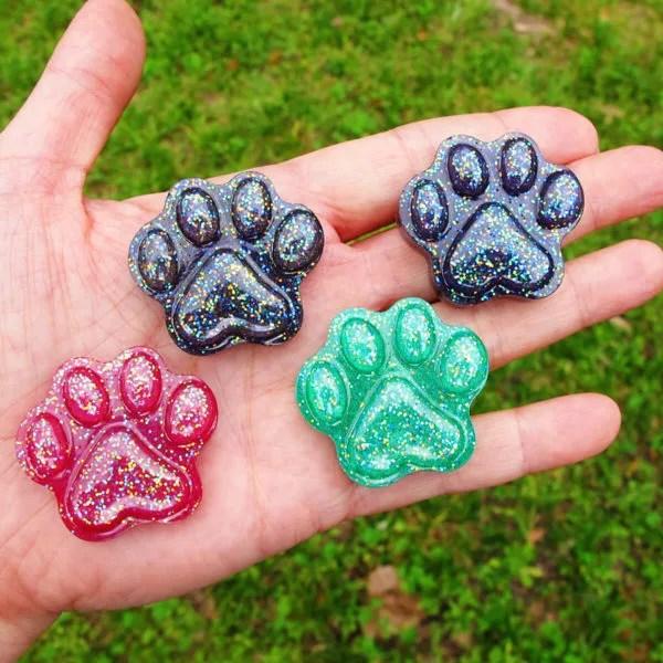 resin animal paw print charms