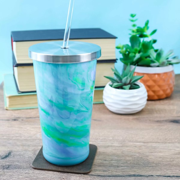 resin tumbler with books