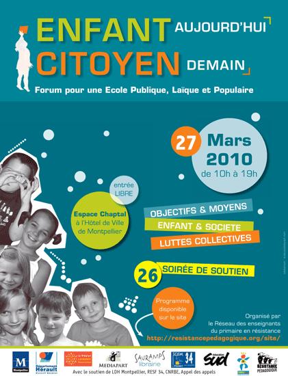 Enfant aujourd'hui, citoyen demain - Forum pour une école publique, laïque et populaire