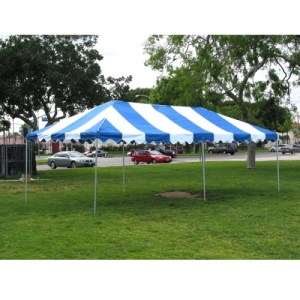blue white top tent rental