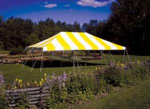 tent rental yellow white top