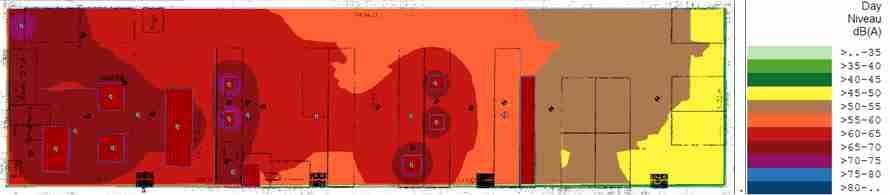 Exemple de carte de bruit obtenue par modélisation informatique