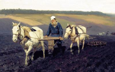 León Tolstói arando. 1887. I. Repin