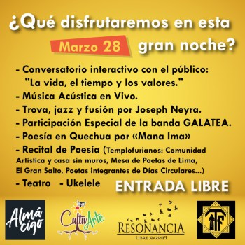 Evento de Poesia 300x300 - CultivARTE -> Evento 28 de Marzo (Almacigo Café Bar)