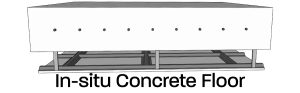 In-situ concrete slab floor cross section