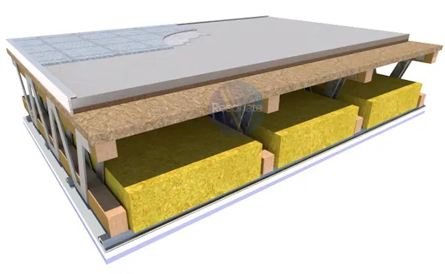 GYPDECK WF soundproofing dry screed board laid on metal web timber joist floor