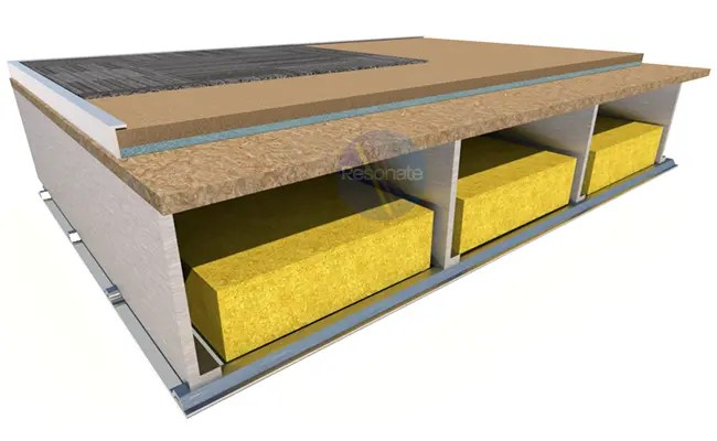 ResoDeck MR acoustic floor board laid on steel joist floor
