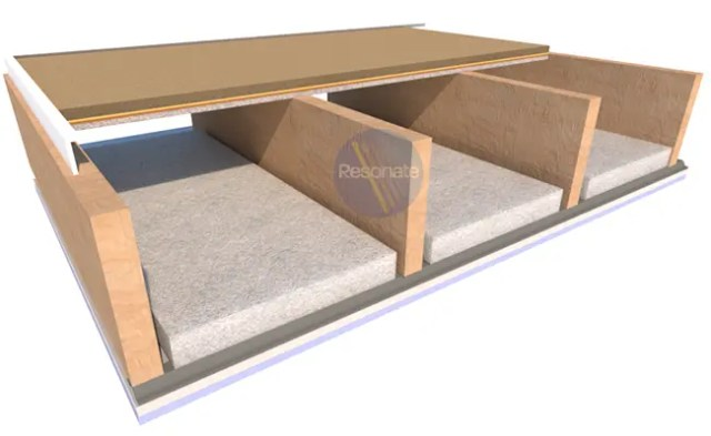 ResoDeck DIRECT acosutic floor board laid direct to timber joist