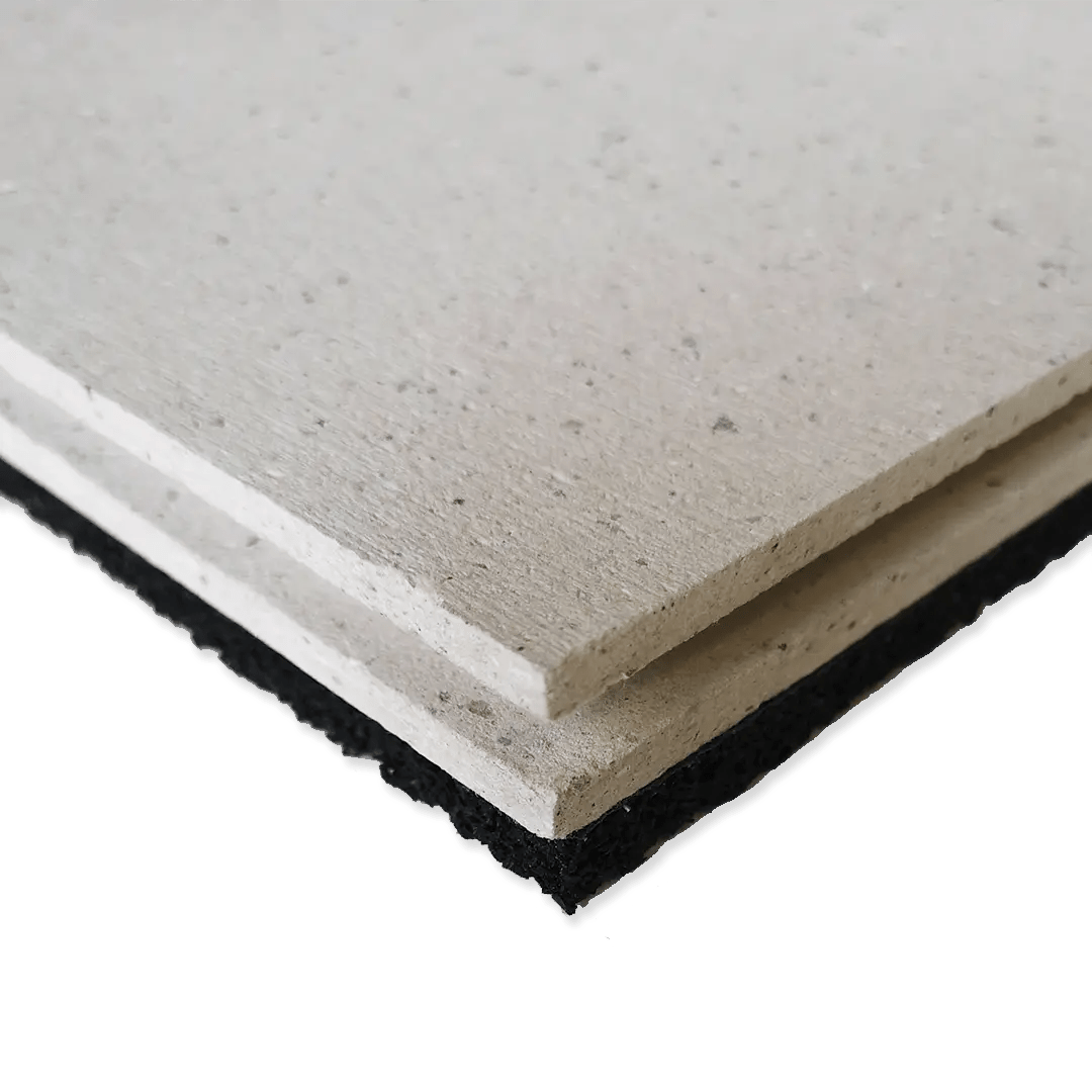 GYPDECK R dry screedboard acoustic flooring featuring a rubber resilient later