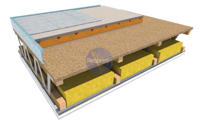 GYPDECK and Resotherm underfloor heating system laid on a metal web timber joist floor