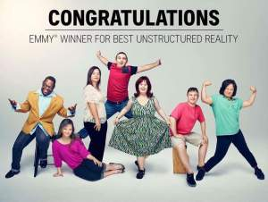 Image of cast facing camera and smiling, text on bottom says Congratulations to Emmy Winner for Best Unstructured Reality
