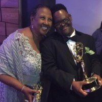 John Tucker and his mom Joyce at the Emmy Awards, John is holding his Emmy statue