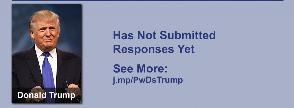 Donald Trump has yet to submit responses to the questionnaire but click the image to see our coverage of his disability conversations.
