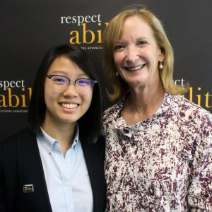 RespectAbility Fellow Judith Lao with Debbie Ratner Salzberg posing and smiling for a photo
