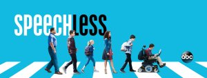 Speechless promo image with word Speechless and showing the characters walking toward the right