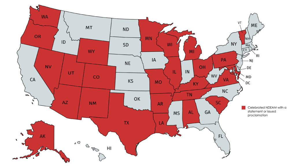 26 States Celebrating National Disability Employment Awareness Month with a Proclamation or Event (highlighted in red)