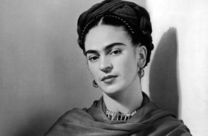 Frida Kahlo black and white headshot