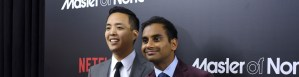 "NEW YORK, NY - NOVEMBER 05: Actors Alan Yang (L) and Aziz Ansari attend the ""Master Of None"" New York premiere at AMC Loews 19th Street East 6 Theater on November 5, 2015 in New York City. (Photo by Noam Galai/Getty Images)"