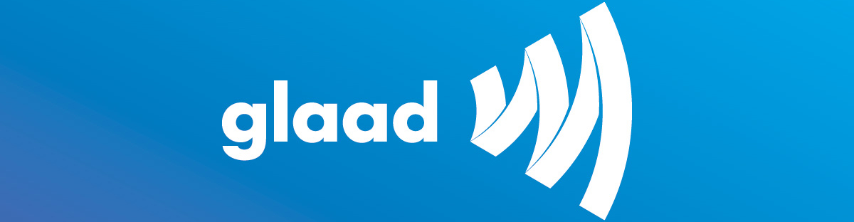 GLAAD Logo in white on blue background