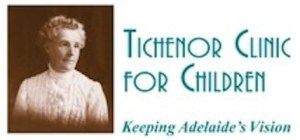 """Tichenor Clinic for Children's Logo. It includes the name of the organization, and the slogan """"Keeping Adelaide's Vision""""."""
