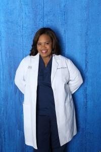Chandra Wilson in costume as Grey's Anatomy's Dr. Miranda Bailey