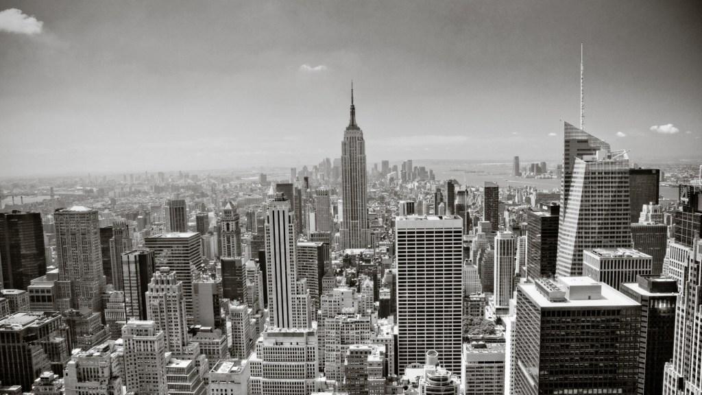 New York City skyline in grayscale