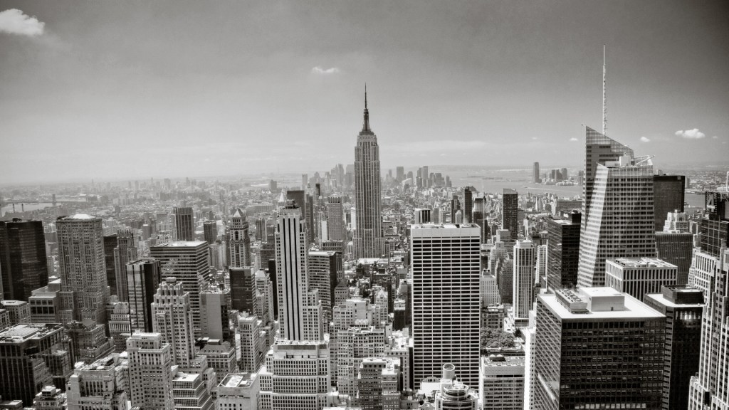 New York City skyline in grayscale